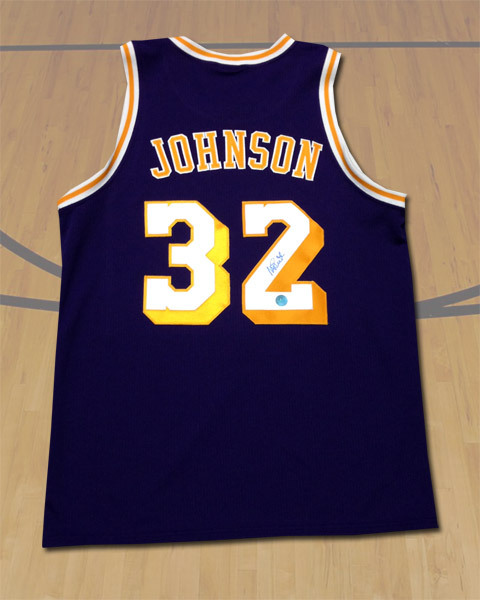 Magic Johnson Los Angeles Lakers Autographed Purple Custom Basketball Jersey