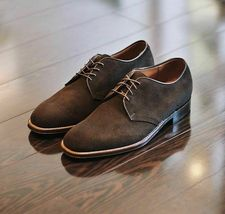 Handmade Men's Chocolate Brown Lace Up Dress/Formal Oxford Suede Shoes image 3