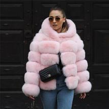 Women's thick Faux Fur Fox Fur Hooded Coat image 2