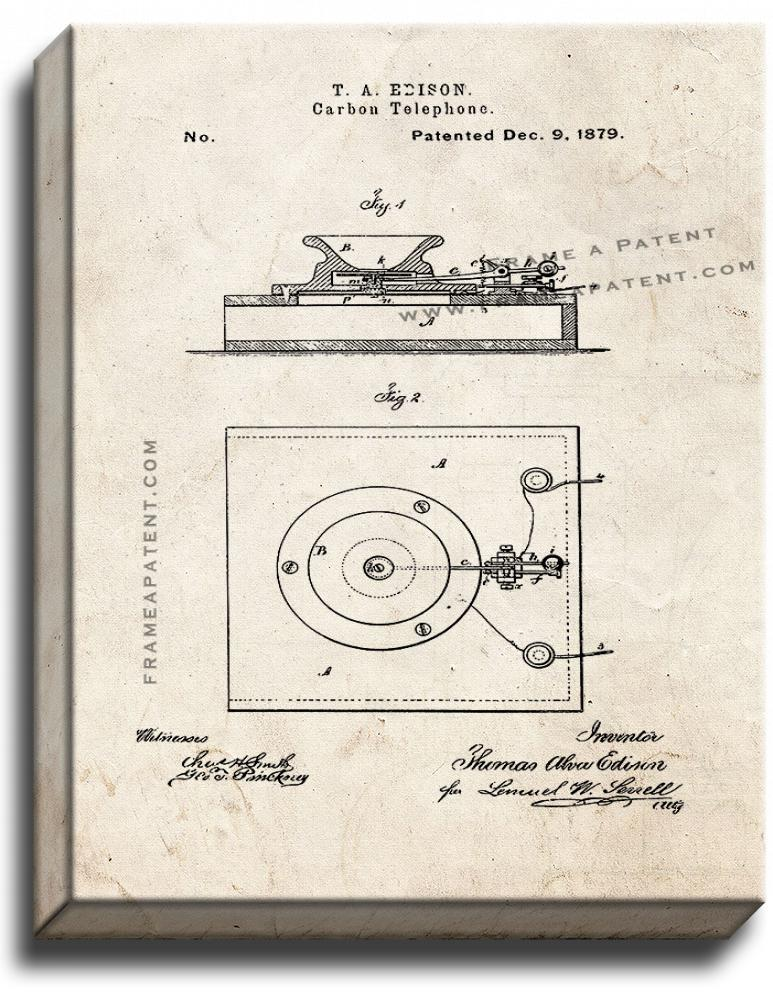 Primary image for Edison Carbon-telephones Patent Print Old Look on Canvas