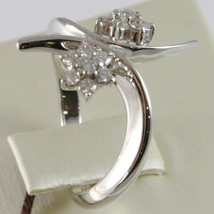 White Gold Ring 750 18K, Double Flower Rosette with Diamonds Criss Crossed image 2