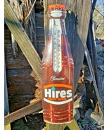 Vintage 1950s Hires Root Beer Diecut Metal Bottle Thermometer Sign WORKS... - $294.52