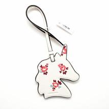 COACH  NWT $35 Chalk Mauve Floral Bloom Leather Unicorn Ornament Purse C... - $17.81