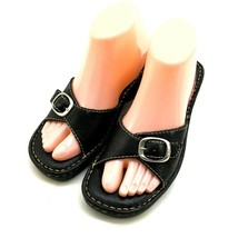 Born Womens Sandals Size 7 M Leather Adjustable Buckle Strap Wedge Black - $22.71
