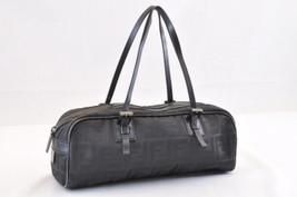 FENDI Pequin Nylon Hand Bag Black Brown Auth 6657 - $160.00