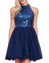 2019 Sexy Halter Sequined Homecoming Dresses Tulle Empire Waist Short Pa... - $99.99