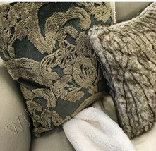 Pottery Barn Natalia Pillow Cover Dark Sage Green 22 sq Silk Jacquard NIP - $44.07
