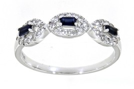 Blauer Saphir Baguette Edelstein 14K Weiss Gold 0.20CT Natur Diamant Fei... - $1,303.84