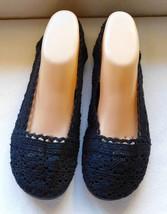 Zoey Beth Black Crochet Slip On Flats Size: 10M