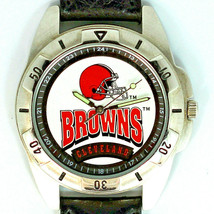 Cleveland Browns NFL Fossil Mans Unworn Rare Vintage 1995 Watch Leather Band $79 - $78.06