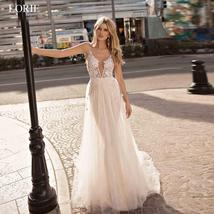 Backless Appliqued with Lace Deep V Neck Beach Wedding Gown Spaghetti Strap image 5