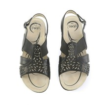 Abeo Bio System Black Leather Cut Out Slingback Sandals Elastic Buckle Womens 8 - $49.40