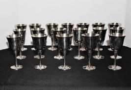 "Set of 18 Salem Portugal Silverplate 5 5/8"" Wine Goblets - $145.00"