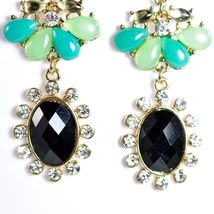 "Mode Mint Green & Black Lucite Bead 2.5"" Drop Post Dangle Earrings New with Tag image 5"