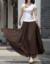 Women Chiffon Maxi Skirt Black White Brown Maxi Skirts Wedding Chiffon Skirt image 3