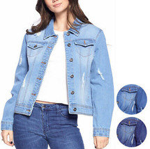 Women's Classic Distressed Cotton Denim Button Up Long Sleeve Jean Jacket
