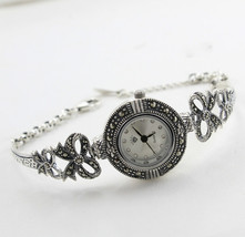 Vintage 925-Sterling-Silver Marcasite Watch Fine Jewelry 22 Gram Free Ship - $80.18