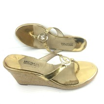 MICHAEL MICHAEL KORS AG11K Gold Logo Thong Wedge Sandals Size 11 M - $34.64