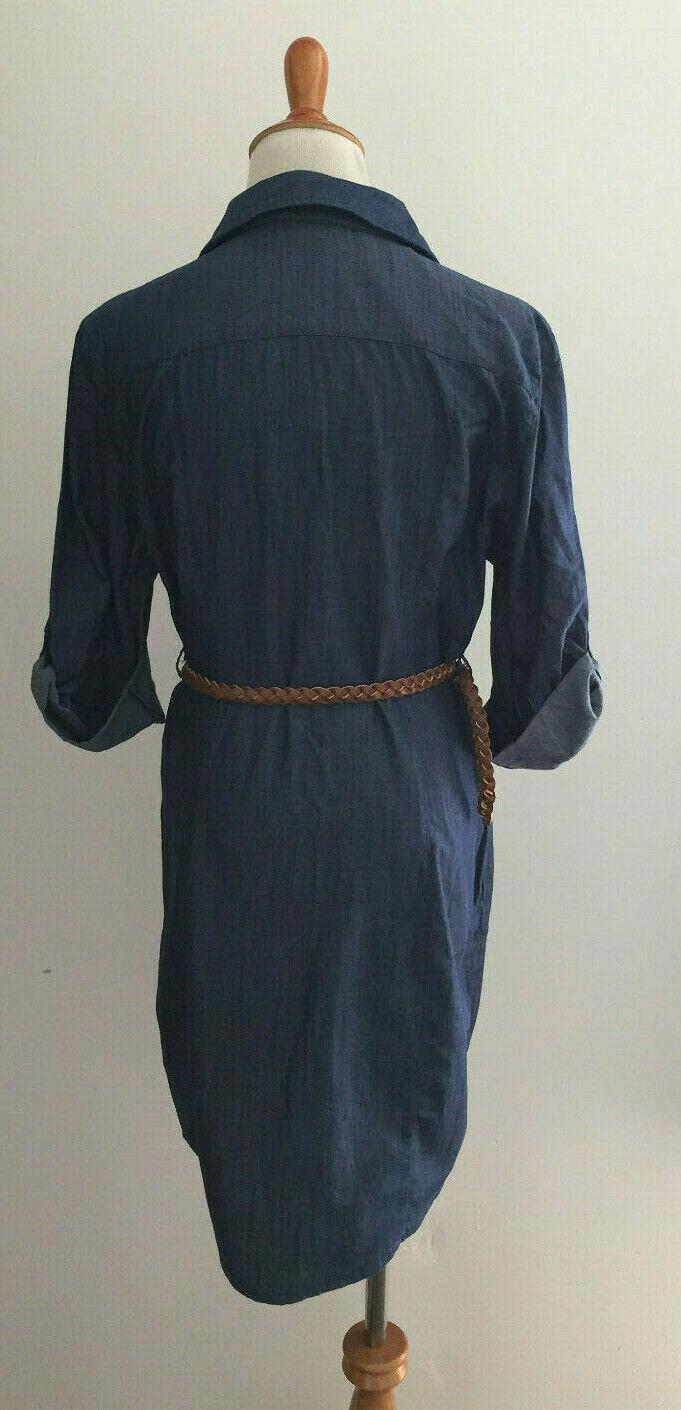 Guess Los Angeles Adaline Tunic Chambray Belted Shirt Dress sz Medium  New NWT