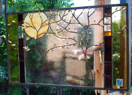 Stained Glass Window Panel personalized wedding anniversary family tree ... - $187.00