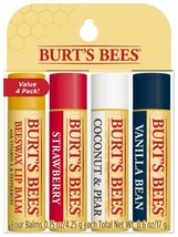 4 PACK Burt's Bees ASSORTED Lip BalmS STRAWBERRY COCONUT/PEAR VANILLA  4... - $9.89