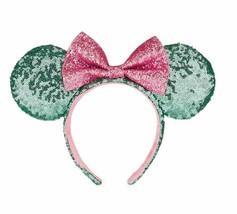 Disney Parks Mint Green Pink Bow Mickey Minnie Sequin Ears Headband - $29.69