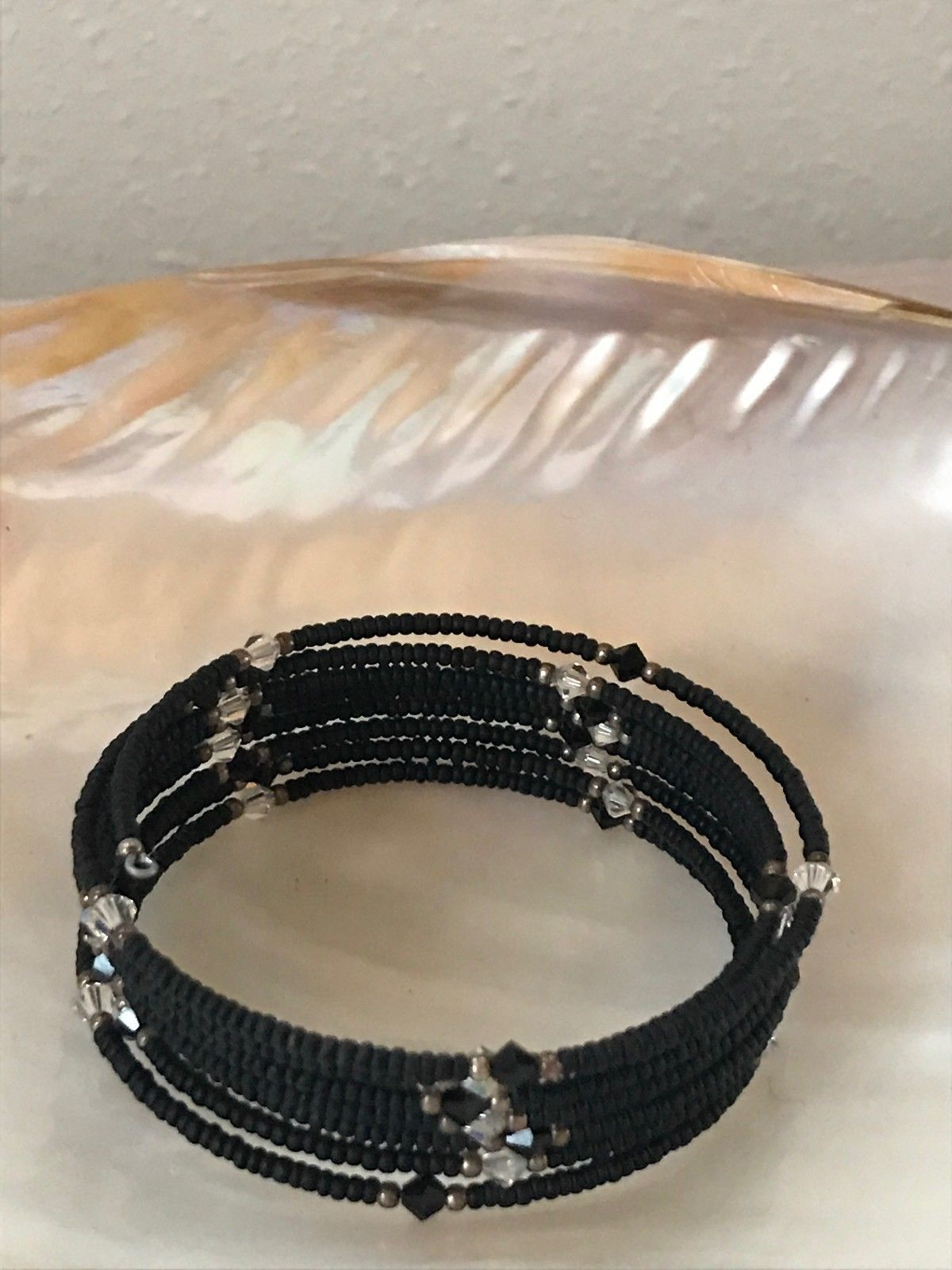 Estate Tiny Black Wood with Alternating Black & White Plastic Bead & Goldtone