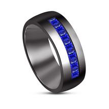 Princess Cut Blue Sapphire Rhodium Over 925 Sterling Silver Mens Engagem... - $84.99