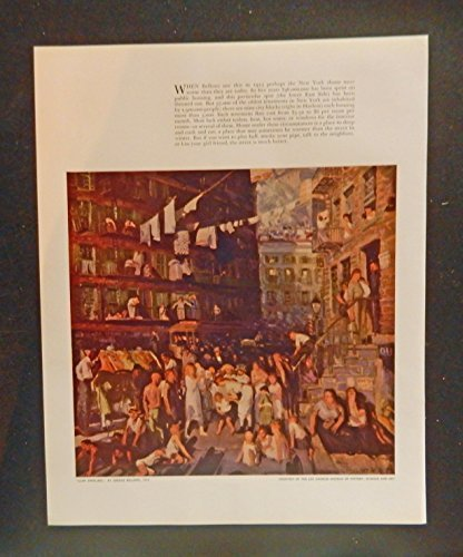 Cliff Dwellers by George Bellows, New Yory City 1913, scarce 1933 print art. ful