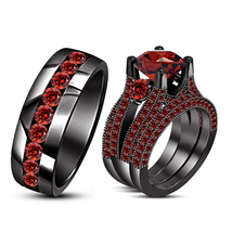Round Cut Red Garnet 925 Silver 14k Black Gold Plated Trio Engagement Ring Set - $174.99