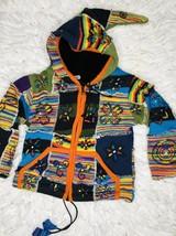 International Nepal Kids Sz M 4-5y Hoodie Knit Jacket Handmade Zip Fleec... - $11.88
