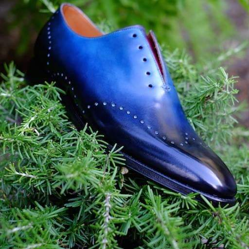 Primary image for Handmade Best Whole Cut Blue Oxfords Leather Patina Finish Shoes For Men
