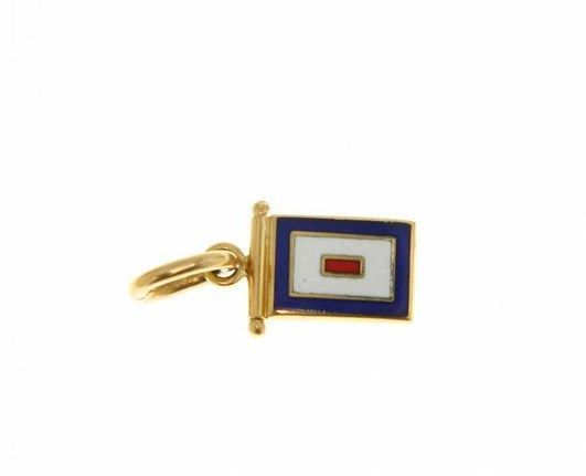 18K YELLOW GOLD NAUTICAL GLAZED FLAG LETTER W PENDANT CHARM MEDAL MADE IN ITALY