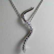 SOLID 18K WHITE GOLD SNAKE PENDANT WITH DIAMONDS CT 0.27 NECKLACE, MADE IN ITALY image 2