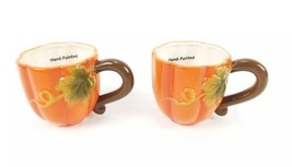 (Lot of 2) Earthenware Orange Pumpkin Mugs Fall Dishwasher Safe Handpainted - $21.29