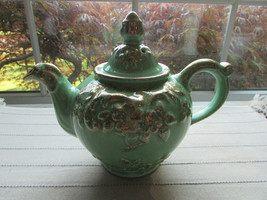 HALL THORLEY TEAPOT REGAL APPLE WITH GOLD ACCENT 0921 6 CUP USA 1950'S   - $34.60