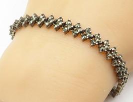 925 Sterling Silver - Vintage Marcasite Floral Link Chain Bracelet - B5168 - $50.60