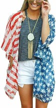 Askwind 4th of July Women's American Flag Print Kimono Cover Up Tops Shirt - $36.69+