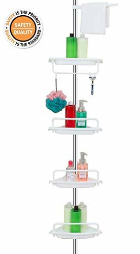 ALLZONE Constant Tension Corner Shower Caddy, Stainless Steel Pole, Rustproof, S