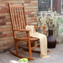 Indoor/Outdoor Patio Porch Slat Rocking Chair (Natural/Brown/Black/White ) - $212.17