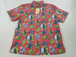 new Tommy Bahama men shirt short sleeve ST325341TJ pink plumeria floral L $99.50 - $39.59