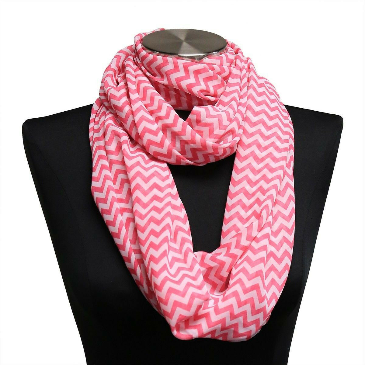 Primary image for 10pc Pink Chevron Sheer Infinity Scarf Wrap WHOLESALE BULK LOT