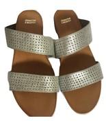 Johnston Murphy Jodi Silver Double Strap Slide Sandals 6.5 NEW NIB - $139.99