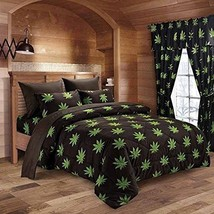 Regal Comfort Pot Leaf 12 Piece King Size Comforter and Sheet Set & Curt... - $109.25