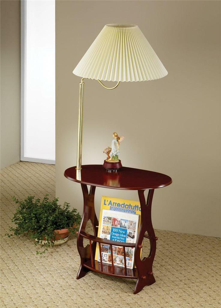 Primary image for BOMBAY STYLE CHERRY FINISH SWING ARM BRASS LAMP MAGAZINE TABLE *Free shipping*