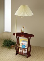 Bombay Style Cherry Finish Swing Arm Brass Lamp Magazine Table *Free Shipping* - $71.02