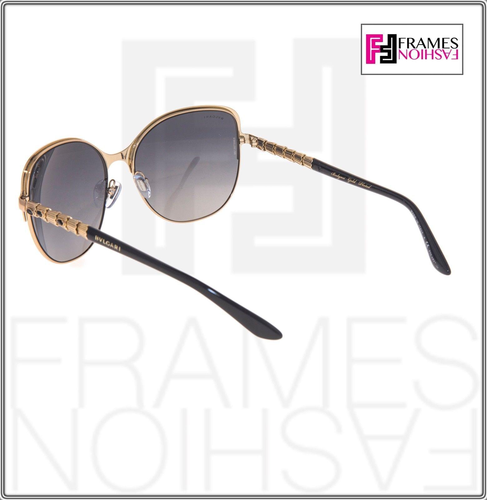 BVLGARI Le Gemme BV6078KB Black Gold 18K Plated POLARIZED Sunglasses 6078 Women image 3