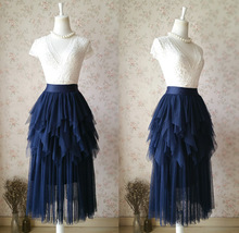 NAVY Full Tulle Prom Skirts Long Prom Skirt Elastic Waist Evening Skirts - $48.80+