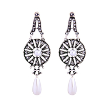 Hollow Round Water Drop 925 Silver Needle Drop Earrings for Girls Women ... - $8.32