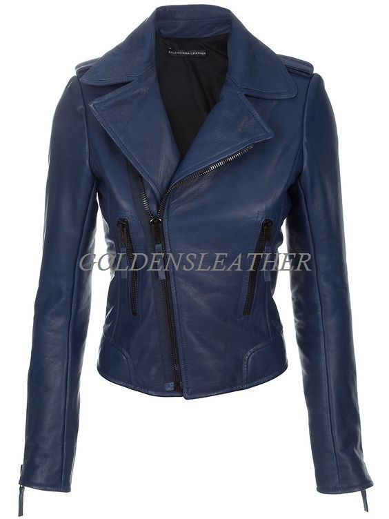 WOMEN BIKER MOTORCYCLE CASUAL SLIM FIT RIDER REAL GENUINE  LEATHER JACKET-A41